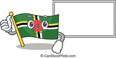 Thumbs up of flag dominica cartoon design with board