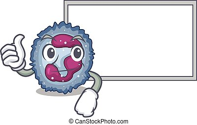 Thumbs up of neutrophil cell cartoon design with board. ...