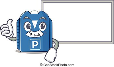 Thumbs up of parking disc cartoon design with board. Vector ...