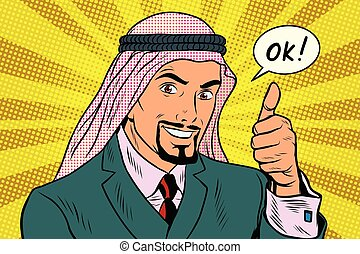 Thumbs up Okey, the Arab businessman