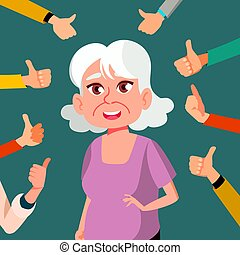 Thumbs Up Old Woman Vector. Public Approval. A Lot Of Hands. Shows Gesture Cool. Business Illustration