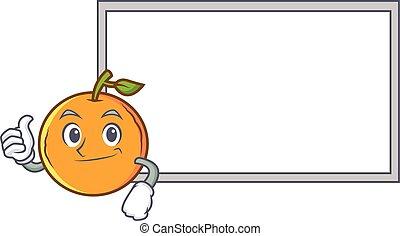 Thumbs up orange fruit cartoon character with board