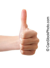 Thumbs up over white background
