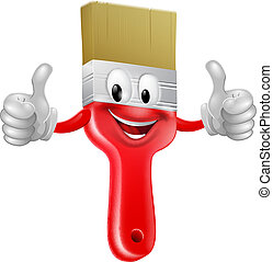 Thumbs up paintbrush - Drawing of a smiling red cartoon...