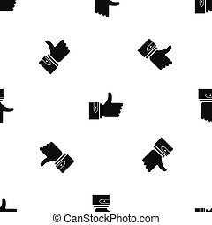 Thumbs up pattern seamless black
