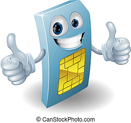 Thumbs up phone sim card person - Illustration of a happy...