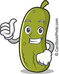 Thumbs up pickle character cartoon style