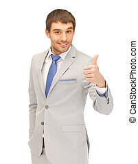 thumbs up - bright picture of handsome man with thumbs up