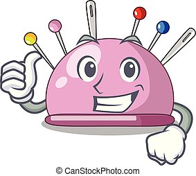 Thumbs up pincushion with a character needles icon