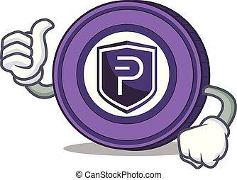 Thumbs up Pivx coin character cartoon