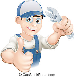 Graphic of a smiling plumber, mechanic or handyman in overalls holding a wrench and giving thumbs up