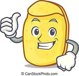Thumbs up potato chips character cartoon
