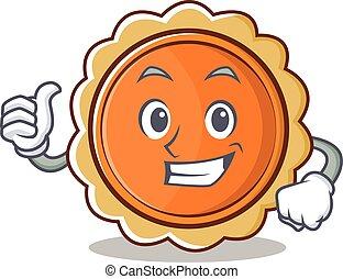 Thumbs up pumpkin pie character cartoon