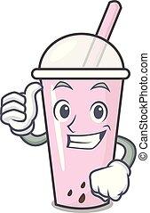 Thumbs up raspberry bubble tea character cartoon