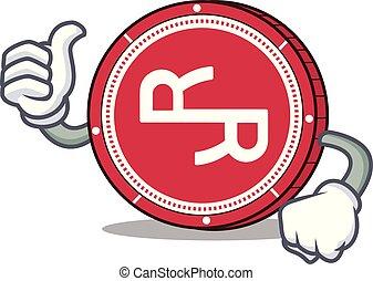 Thumbs up RChain coin character cartoon