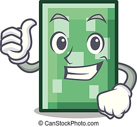 Thumbs up rectangle character cartoon style