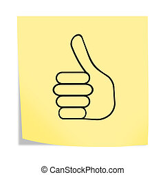 Thumbs up reminder post note 3d illustration isolated on white with clipping path