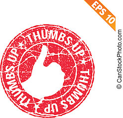 Thumbs up rubber stamp - Vector illustration - EPS10