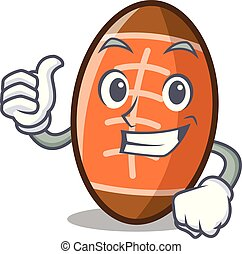 Thumbs up rugby ball character cartoon