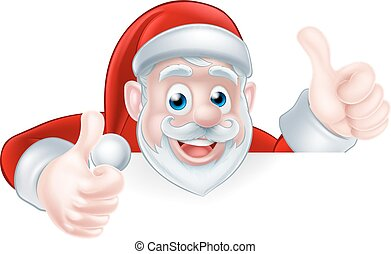 Thumbs Up Santa - An illustration of a cute Cartoon Santa...