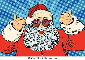 Thumbs up Santa Claus in pink heart glasses