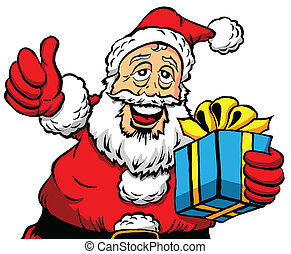 Thumbs Up Santa With a Gift