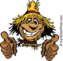 Cartoon Scarecrow with Smiling Face Wearing Straw Hat giving thumbs up gesture Vector Image