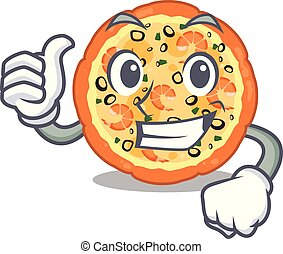 Thumbs up seafood pizza isolated with in cartoon