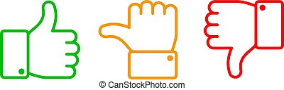 Thumbs up set. Green like red dislike and yellow undecided line icons. Thumb up and down vector outline isolated web buttons