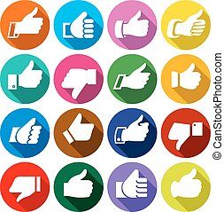 Thumbs up, set on round buttons, vector illustration