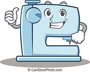 Thumbs up sewing machine emoticon character