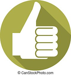 thumbs up sign flat icon (vector hand showing thumbs up,...