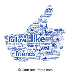 Illustration of the thumb up symbol, which is composed of words on social media themes. Isolated on white.