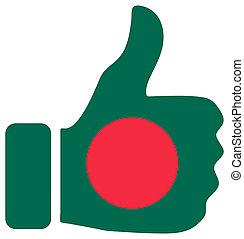 Thumbs up sign with flag of Bangladesh
