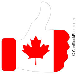 Thumbs up sign with flag of Canada