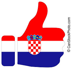 Thumbs up sign with flag of Croatia