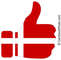 Thumbs up sign with flag of Denmark