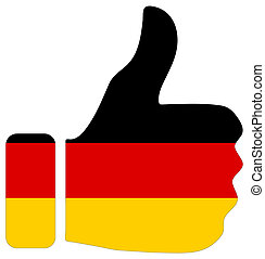Thumbs up sign with flag of Germany