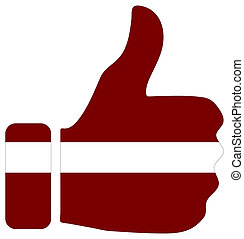 Thumbs up sign with flag of Latvia