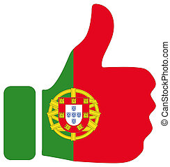 Thumbs up sign with flag of Portugal
