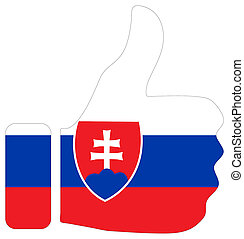 Thumbs up sign with flag of Slovakia