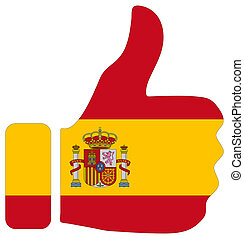 Thumbs up sign with flag of Spain