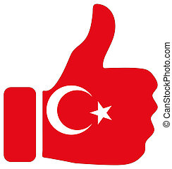 Thumbs up sign with flag of Turkey