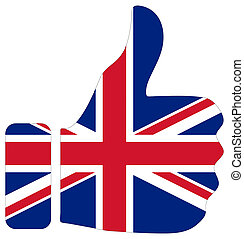 Thumbs up sign with flag of UK