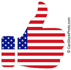Thumbs up sign with flag of USA
