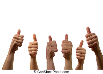 Thumbs up - Six hands with thumbs up on a white background