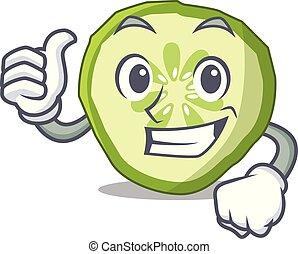 Thumbs up sliced cucumber hamburger ingredient character cartoon