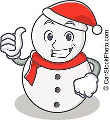 Thumbs up snowman character cartoon style