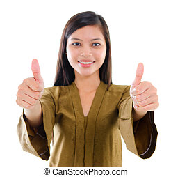 Thumbs up Southeast Asian Muslim female - Southeast Asian...