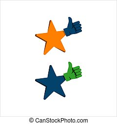 thumbs up star logo design vector sign. symbol of good rating evaluation success and quality